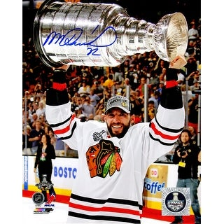 Michal Rozsival Signed Chicago Blackhawks 2013 Stanley Cup Trophy 8x10 Photo