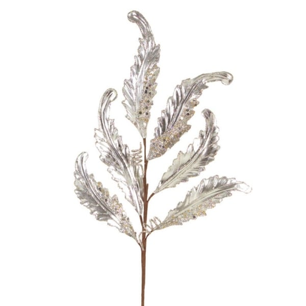 Pack of 12 Silver Metallic Vinyl and Polyester Acanthus Leaf Spray 30""