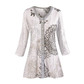 Women's Tunic Top - Mandala Gray Paisley Print Shirt