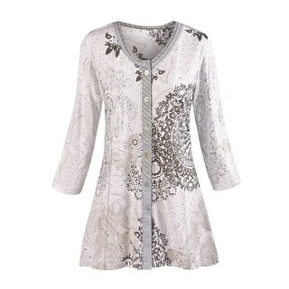 Women's Tunic Top - Mandala Gray Paisley Print Shirt (Option: 1x)|https://ak1.ostkcdn.com/images/products/is/images/direct/f554611ab2b3b2d9b5432f324331dd3bf07660d6/Women%27s-Tunic-Top---Mandala-Gray-Paisley-Print-Shirt.jpg?_ostk_perf_=percv&impolicy=medium
