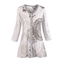 Women's Tunic Top - Mandala Gray Paisley Print Shirt