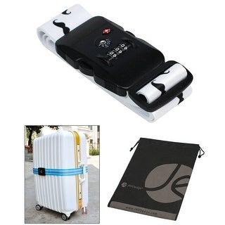White Mustache Pattern TSA Approved 3-Dial Combination Locking Travel Luggage Strap and Bonus Reusable Storage Bag