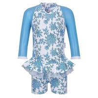 Sun Emporium Baby Girls Blue Paisley Long Sleeved UPF50+ Swimsuit