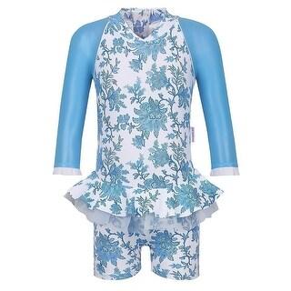 Sun Emporium Baby Girls Blue Paisley Long Sleeved UPF50+ Swimsuit