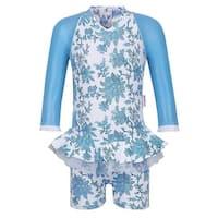 Sun Emporium Little Girls Blue Paisley Long Sleeved UPF50+ Swimsuit