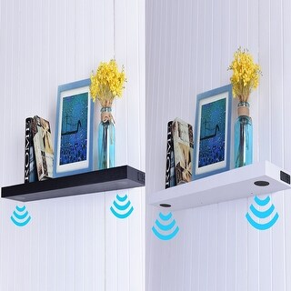 Costway 32''L Wall Mount Wireless Bluetooth or USB Speaker Shelf with Two Speakers