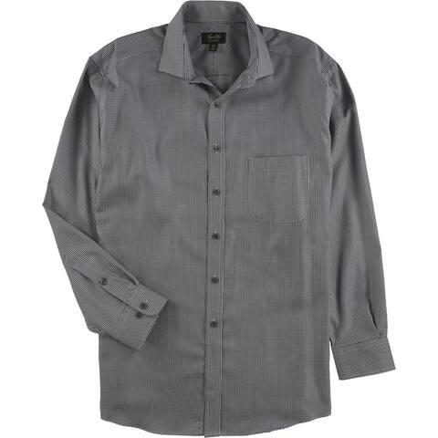 Tasso Elba Mens Non-Iron Houndstooth Button Up Dress Shirt