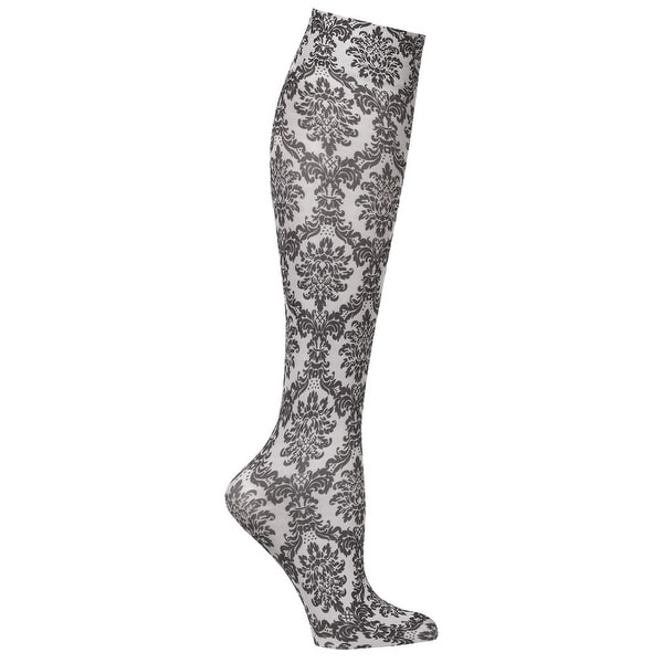 Celeste Stein Mild Compression Knee High Stockings, Wide Calf - Grey Damask - Medium