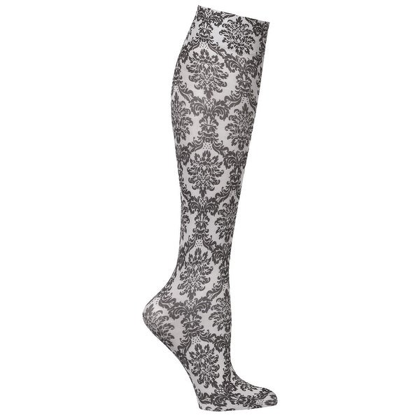 Celeste Stein Women's Moderate Compression Knee High Stockings - Grey Damask - Medium