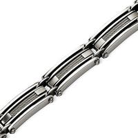 Chisel Stainless Steel with Steel Cable Brushed & Polished 9 Inch Bracelet