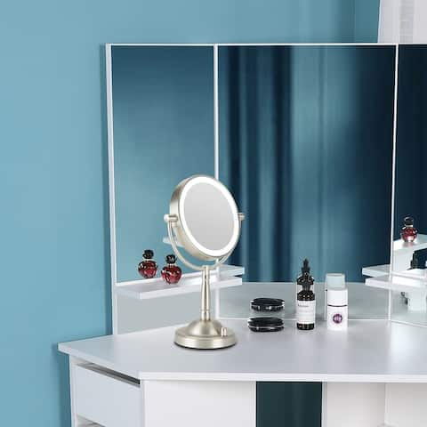 CO-Z 1x/8x Double Sided Dimmable LED Lighted Magnifying Vanity Makeup/Shaving Mirror