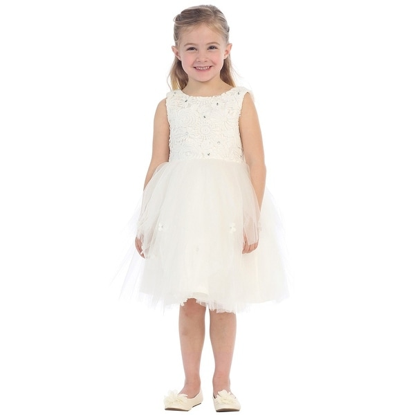 0884fd04420 Shop Little Girls Ivory Sparkle Floral Lace Tulle Layered Flower Girl Dress  - Free Shipping On Orders Over  45 - Overstock - 18165907