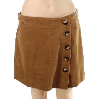 Fashion On Earth Womens Skorts Brown Size Medium M Button Front Corduroy