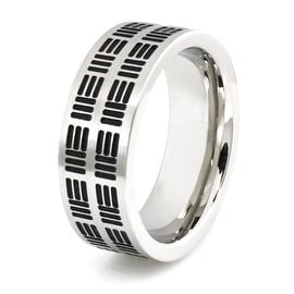 Stainless Steel Ring w/ Three-Line Pattern