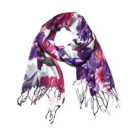 Women's Fashion Floral Soft Wraps Scarves - F2 Purple
