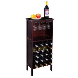 Costway Wood Wine Rack Holder Storage Shelf Display W/ Glass Hanger  (20 Bottle