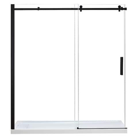 Ove Decors Tara 72 in. Tempered Shower Glass Door Panels in Black