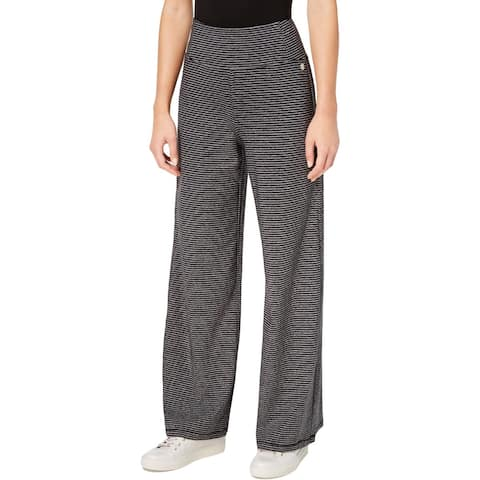 Calvin Klein Performance Womens Athletic Pants Wide-Leg Micro Stripe