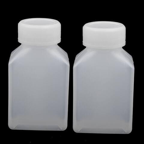 50ml HDPE Plastic Rectangle Shaped Home Laboratory Experiment Bottle White 2pcs