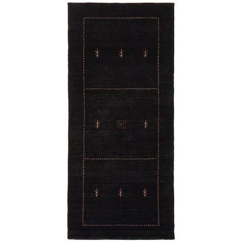 ECARPETGALLERY Hand Loomed Gabbeh Luribaft Black Wool Rug - 2'7 x 5'9