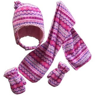 NICE CAPS Girls Sherpa Lined Fair Isle Printed Fleece hat/scarf/mitten Set - fuchsia/pink/purple/white/turq