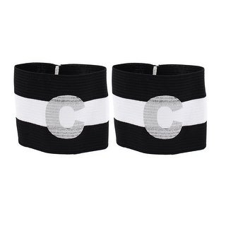 2pcs White Black C Printed Stretchy Football Soccer Captain Armband Sleeve Badge