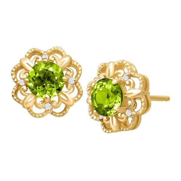 1 1/0 ct Peridot Earrings with Diamonds - Green