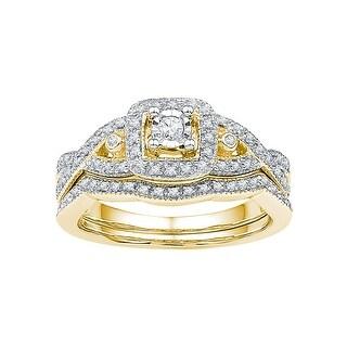 1/4Ctw Diamond Fashion Bridal Set 10K Yellow-Gold - White I-J