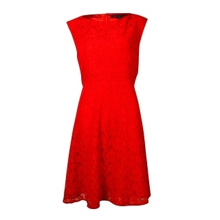 French Connection Women's Fit & Flared Lace Sleeveless Dress - 12
