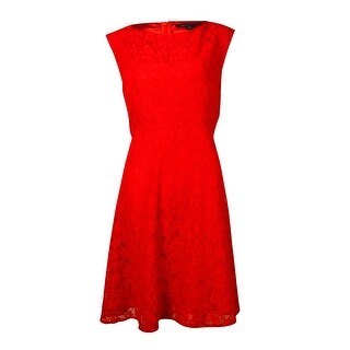 French Connection Women's Fit & Flared Lace Sleeveless Dress - Scarlet - 12