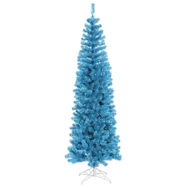 7.5' Pre-Lit Sparkling Sky Blue Artificial Pencil Christmas Tree - Blue Lights