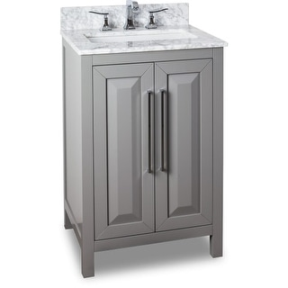 Jeffrey Alexander VAN100-24-T 24 Inch Single Free Standing Vanity Set with Hardwood Cabinet, Marble Top, and Rectangular