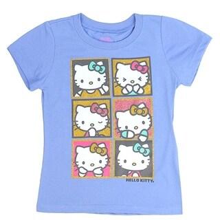 Hello Kitty Little Girls Blue Character Print Trendy Short Sleeve T-Shirt