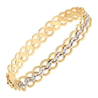 Just Gold Interlocking Circles Chain Bracelet in 10K Gold with Rhodium Plating - Two-tone