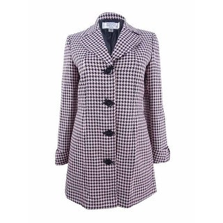 Tahari ASL Women's Petite Four-Button Houndstooth Topper Jacket (2P, Pink/Black) - Pink/black - 2p