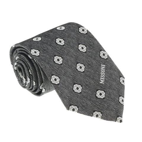 Missoni U5576 Silver Geometric 100% Silk Tie - 60-3