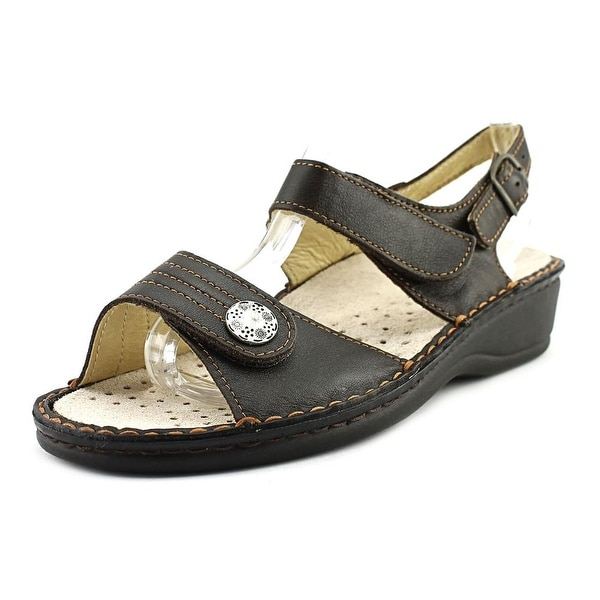 La Plume Julie Women Open Toe Leather Brown Thong Sandal