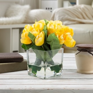 Glass Vase Artificial Faux Silk Yellow Tulip Floral Table Decor Table Wedding Centerpiece