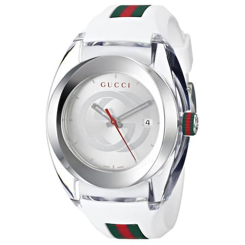 Gucci Men's YA137102 'SYNC XXL' White Stainless Steel Watch - One size adjustable