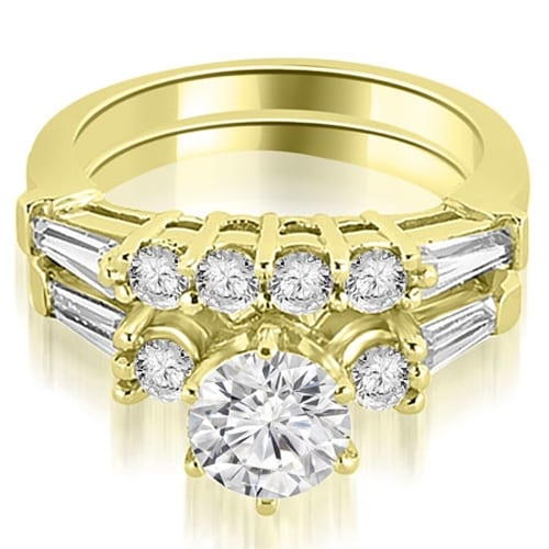 1.35 cttw. 14K Yellow Gold Baguette and Round Diamond Bridal Set