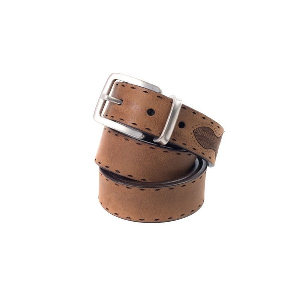Brunello Cucinelli Tan Suede-Leather Diamond-Etched Western Belt