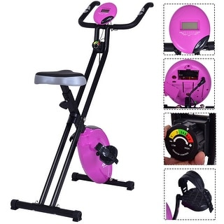 Costway Folding Magnetic Exercise Bike LCD Display 3.5lbs Flywheel Resistance Adjustable