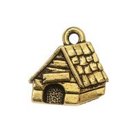 TierraCast Charm, Dog House 15x15.5mm, 1 Piece, Antiqued Gold Plated