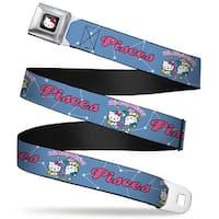 Hello Kitty W Red Bow Full Color Black Hello Kitty Zodiac Pisces Webbing Seatbelt Belt