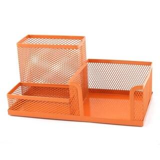Unique BargainsOffice Metal Rectangle Shape Meshy 3 Compartment Pen Holder Organizer Orange