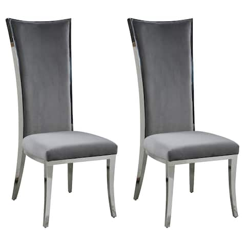 Somette Isabella Diamond Stitched High Back Side Chair, Set of 2
