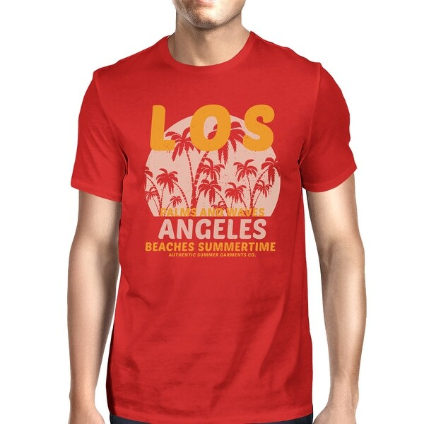 142a719f6f LA Beaches Summertime Mens Red Vintage Design T-shirt Gift Ideas