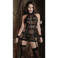 Banded Mesh Chemise With Chains, Banded Chemise - Black - One Size Fits most