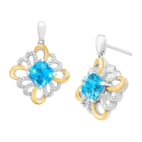 2 3/8 ct Natural Swiss Blue Topaz Drop Earrings with Diamonds in Sterling Silver and 14K Gold