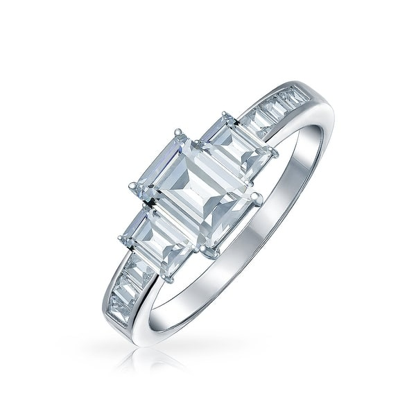 Sterling Silver 3 Stone CZ Engagement Ring